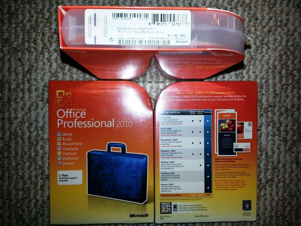 Microsoft Office Professional 2010,SKU 269-14964,Sealed Retail Box ...