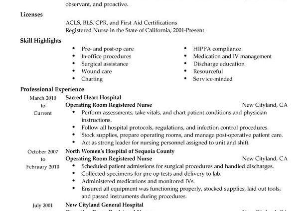 Operating Room Registered Nurse Resume Sample professional summary ...