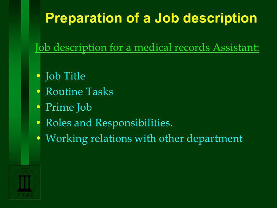 MEDICAL RECORDS MANAGEMENT IN EYE CARE SERVICES 3.Planning Job ...