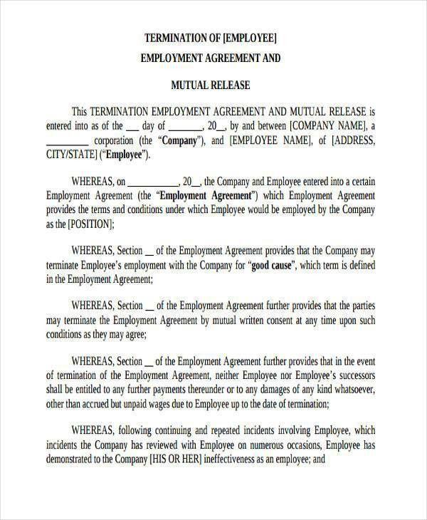 Employment Release Agreement. Employee Severance Agreement .