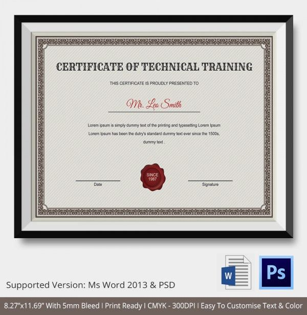 Training Certificate Template - 14+ Free Word, PDF, PSD Format ...