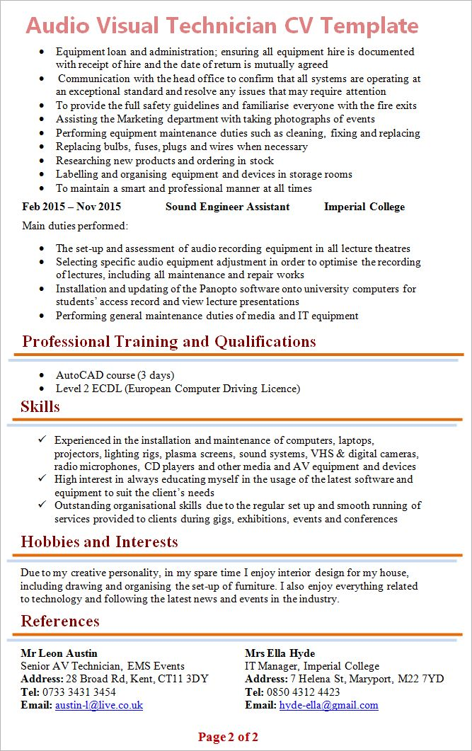 Audio Visual Technician CV Template + Tips and Download - CV Plaza