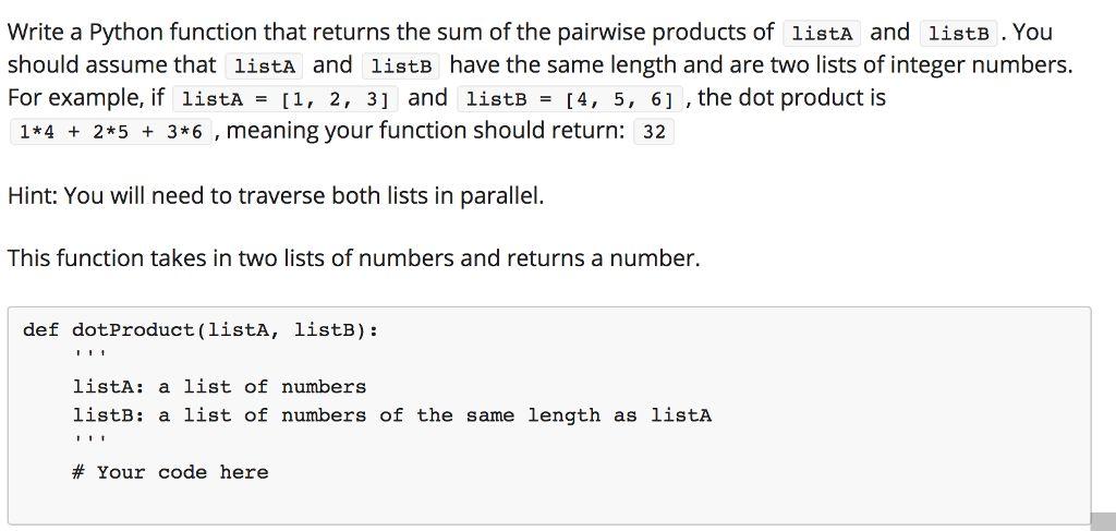 Write A Python Function That Returns The Sum Of Th...   Chegg.com