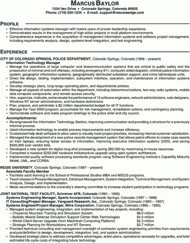 Sample Scannable Resume - Information Technology Manager