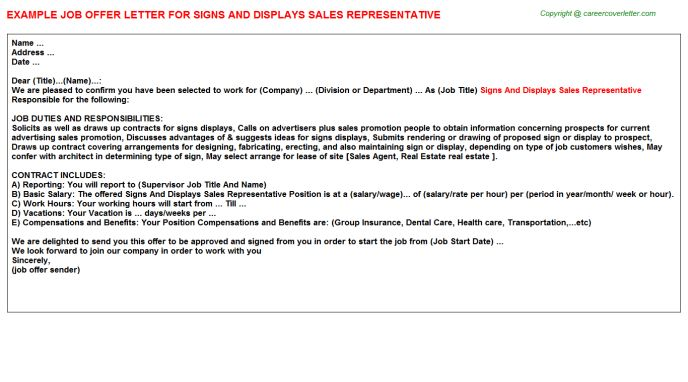 Signs And Displays Sales Representative Offer Letter