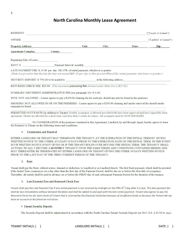 North Carolina Rental Lease Agreement Templates | LegalForms.org