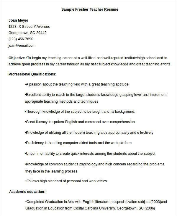 Elementary Teacher Resume Examples. Good Teacher Resume Examples ...