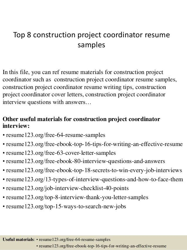 Top 8 Construction Project Coordinator Resume Samples  1