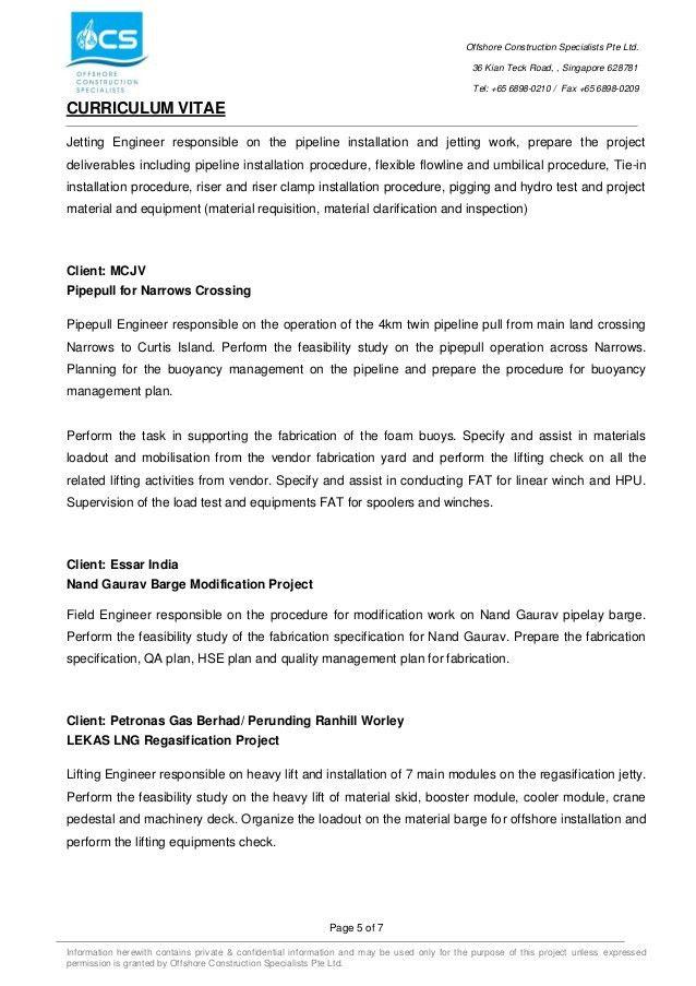 Offshore Resume Objective - Contegri.com