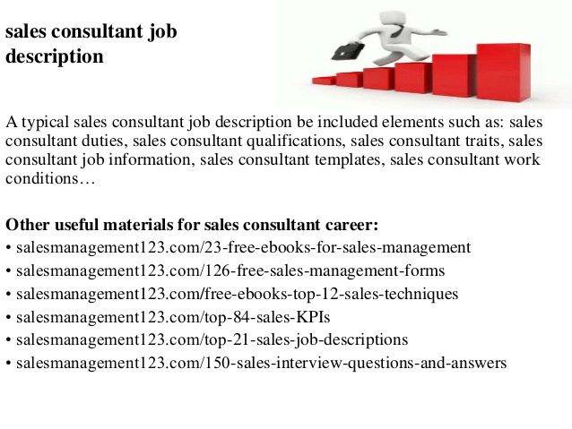 Sales Consultant Job Description. Sales Consultant Job Description ...