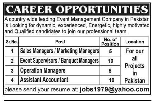 Assistant Accountant Job, Event Management Company Job, Sales ...