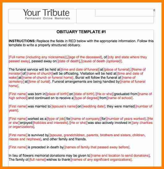 Infant Obituary Template. sample child funeral program template 6 ...