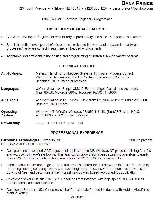 objective in resume for software engineer linux engineer sample