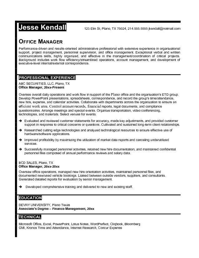 Office Manager Resume Objective Examples Best Business Template ...