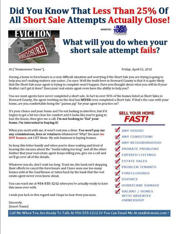 Best Marketing Letter Ever To Homeowners In Foreclosure!