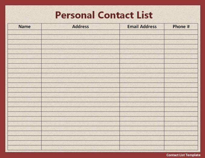 Red Theme Contact List Free Printable Word Templates : Vlcpeque