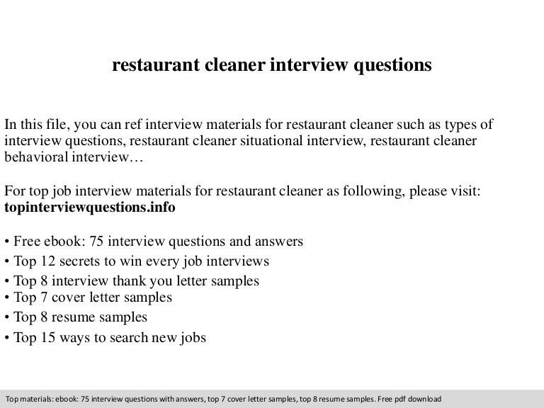 Restaurant cleaner interview questions