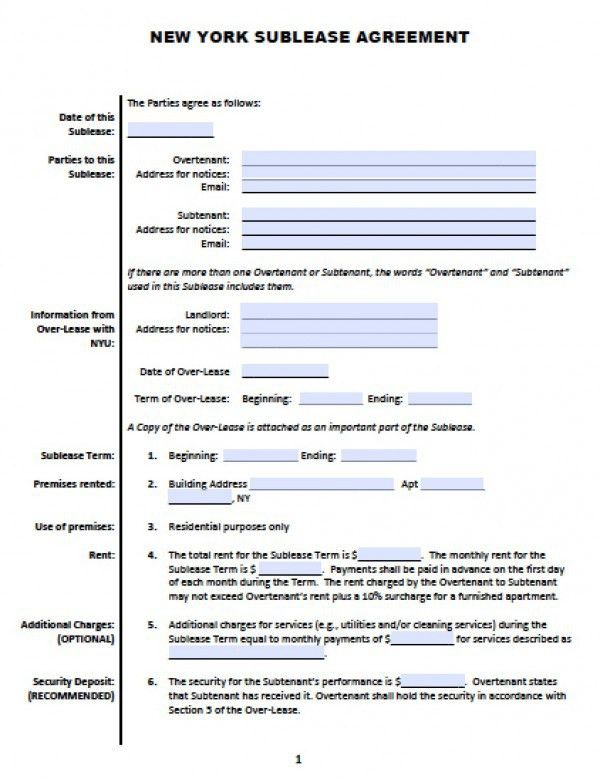 Free New York Sub-Lease | Roommate Agreement | PDF | Word (.doc)