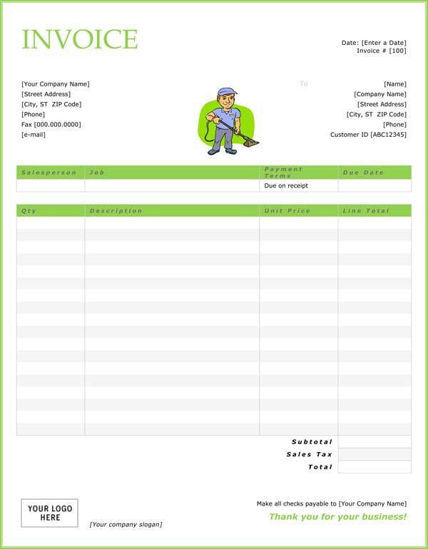 printable cleaning service receipts | Cleaning Invoice Template ...