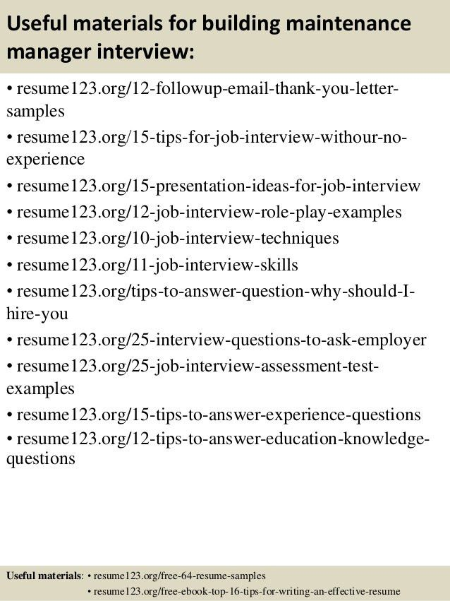 Top 8 building maintenance manager resume samples