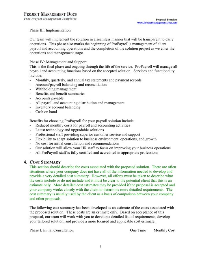 Project Management Proposal Template Free - Template Examples