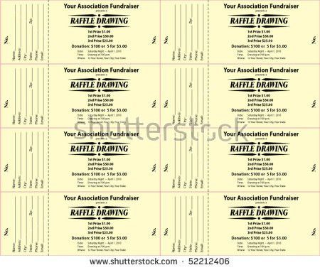 Raffle Ticket 3part Vector Template Stock Vector 52212409 ...