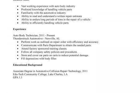 Resume Cover Letter Auto Mechanic Auto Mechanic Resume Example ...