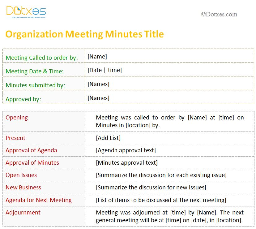 organization meeting minutes template - Template