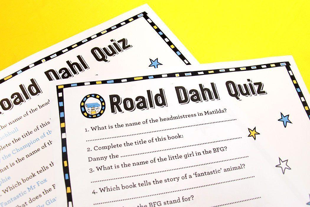 Free Printable Roald Dahl Quiz | Party Delights Blog