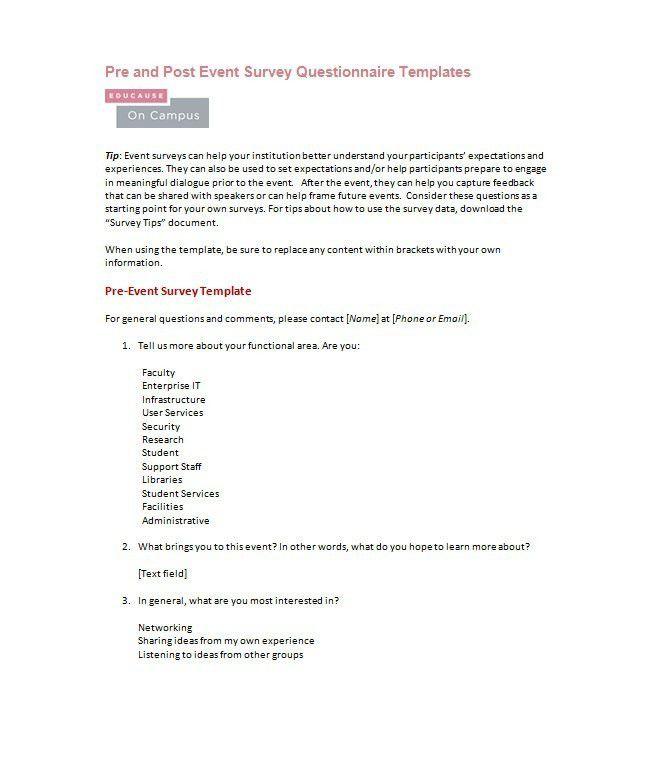 Free Survey Template Word  SaveBtsaCo