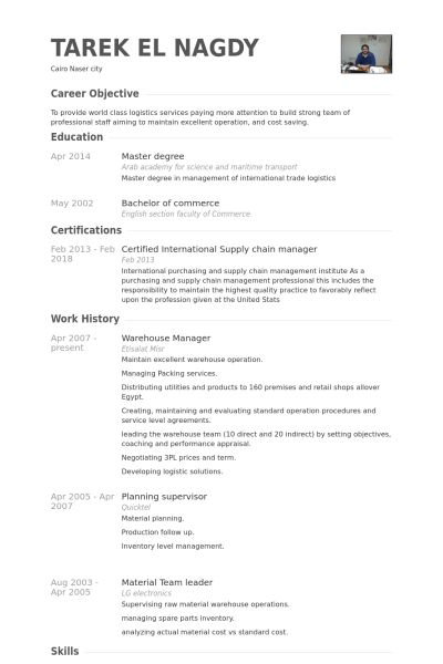 Warehouse Manager Resume samples - VisualCV resume samples database