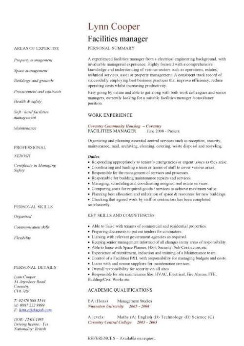 Facility Maintenance Manager Resume Sample. maintenance resume ...
