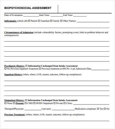 Sample Psychosocial Assessment. 3 Biopsychosocial Assessment No ...