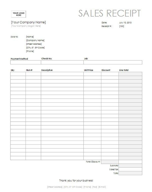 Free Sales Receipt Template in Word Format