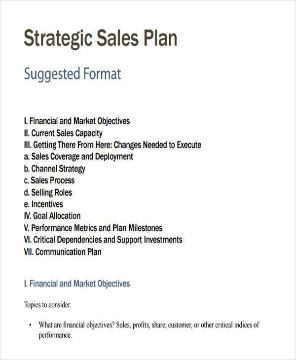 sales plan format