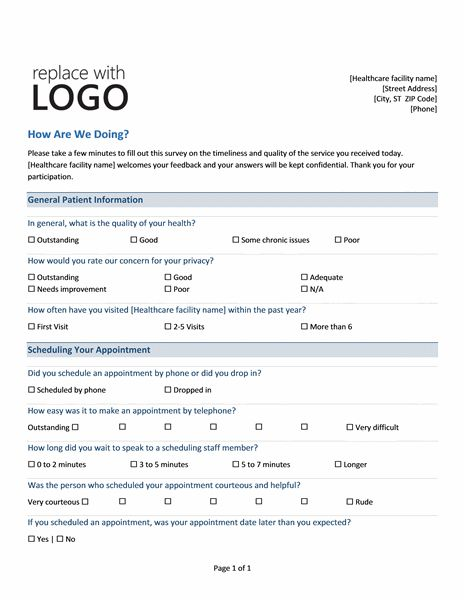 Medical Practice Survey Form | Printable Medical Forms, Letters ...