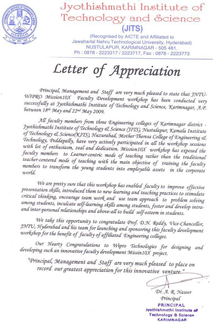 team appreciation letter