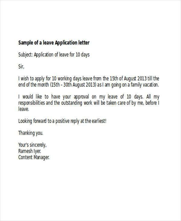 Formal Sick Leave Letter. Sick Leave Request Sample Resume Cover .