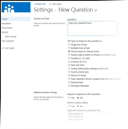 Create a survey - SharePoint