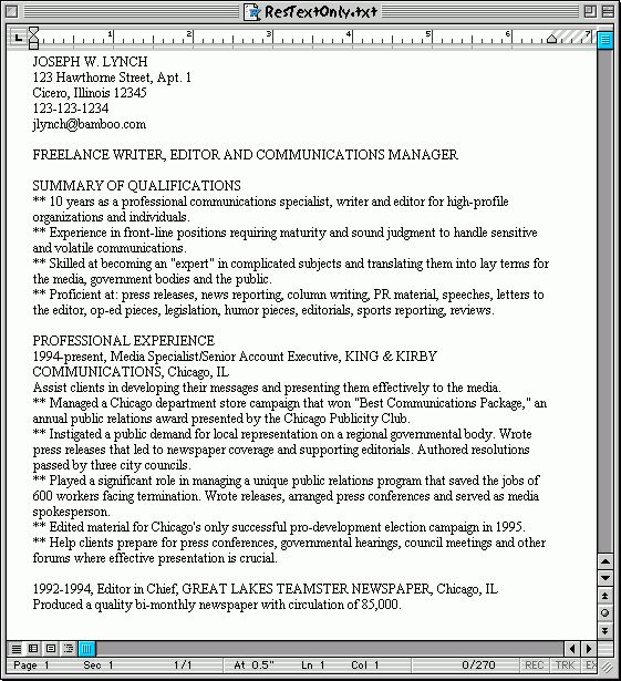 2 Sample Resumes: Hardcopy and Plain Text - Susan Ireland Resumes