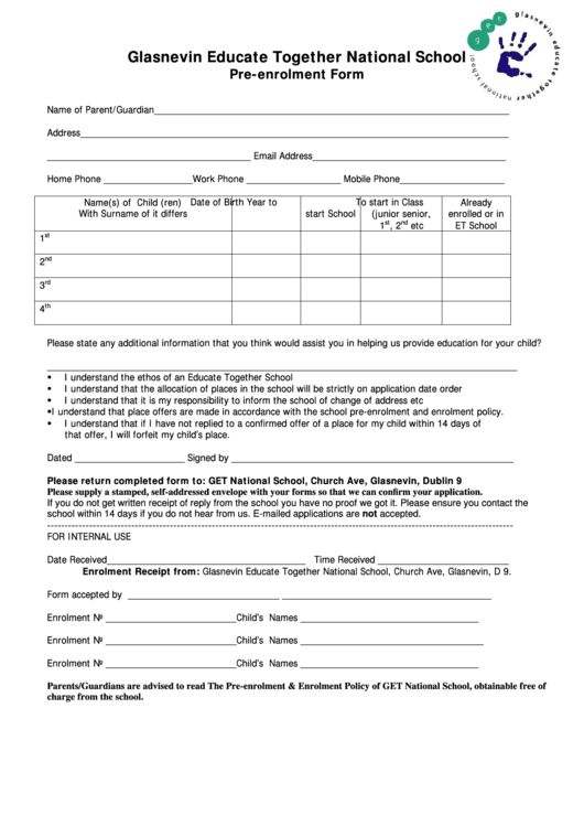 Enrolment Form Template. top 9 preschool enrollment form templates ...