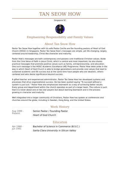 Senior Pastor Resume samples - VisualCV resume samples database