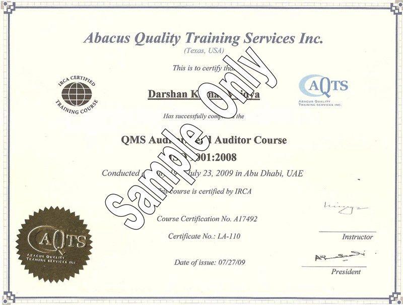 Certificate Samples | vincott