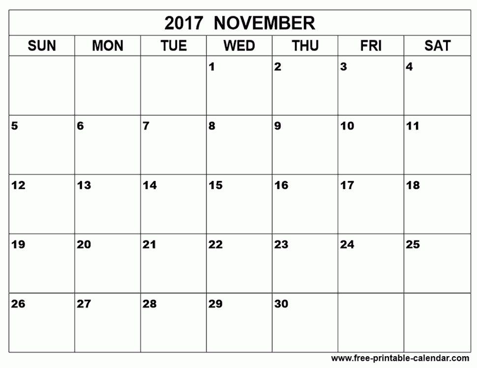 November 2017 calendar template - Free-printable-calendar.com