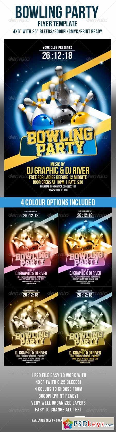 Bowling Party Flyer Template 4583827 » Free Download Photoshop ...
