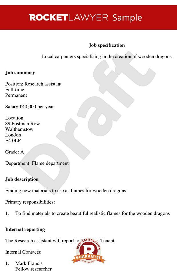 & Print Free Job Description Template - Job Spec