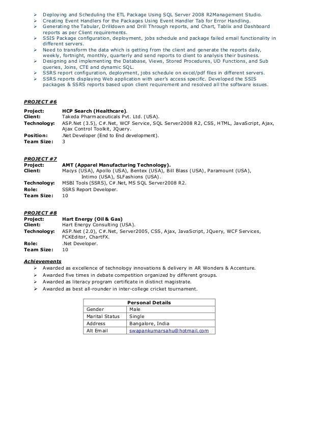 Resume MSBI(SSAS, SSIS, SSRS)