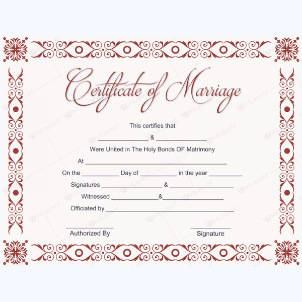 Formal Marriage Certificate Template #marriagecard #marriage ...