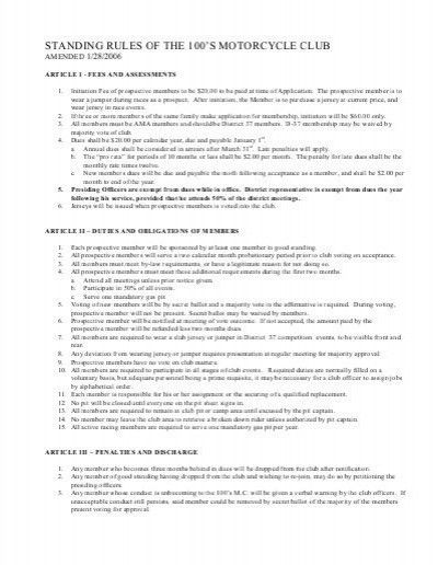Motorcycle Club Bylaws Template. car club bylaws template expense ...