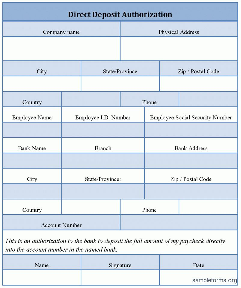 direct deposit form template word
